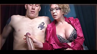 Domme T is a horny, platinum-blonde female in a satin tee-shirt who enjoys to everywhere voluptuous handjobs