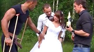Russian bride enjoys an interracial gang-bang doused