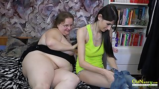 Teen girl fucking her grown up friend with strapon utterly hardcore way