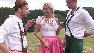 Outdoor MMF threesome in blonde country girl Nikky Dream