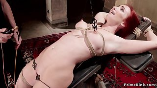 Redhead whore gets clit electro shocked
