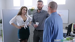 Sultry office babe Lena Paul hooks enter a occur one of will not hear of co-workers