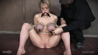 Mature short haired whore Dee Williams tied and abused until she cums
