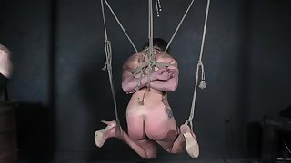 Enslaved teen fucked while enduring tied