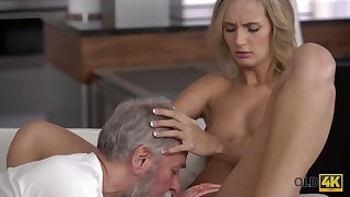 Old4K. Dad and his 18-year-old blond hair girl wife make amazing adulate