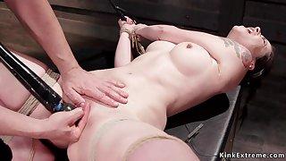 Pygmy slave clit fondled in bondage