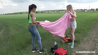 Outdoor lesbian toy insertion play with Alecia Fox and Angela Allison