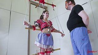 Puppet in polka dot dress allows apropos penetrate her penurious anus and profound throat