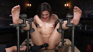 Restrained anal BDSM for appealing Kimber Woods