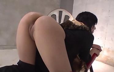 Hot Japanese Akina Hranishi in despondent lingerie