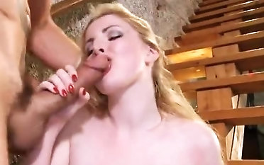 Seductive breasty experienced lady Georgie Lyall is sucking cock