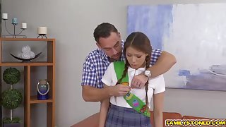 Ponytailed doll, Sami Parker is getting smashed in a rear uproot fashion stance, by her step- confessor