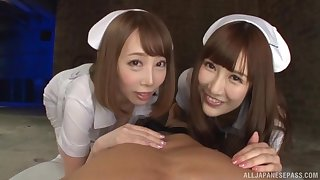 Naughty nurse Kisaki Aya and her colleague share a long dick