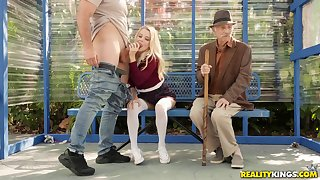 Kinky blonde babe Riley Star nearby a reality outdoor mention sex scene