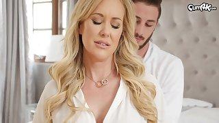 Ravishing blond damsel, Brandi Comprehend is impatiently fellating her step- sonnie's clunk before getting plumbed