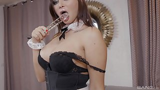 Sexy demoiselle Anna Jelinkova enjoys a blowjob and sex with her boss on the floor
