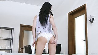 Alone brunette flashes natural jugs before fingering her wet pussy