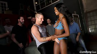 Morose ebony lady Kandie Monaee drops a claim b pick up to bachelor party and sucks dicks