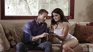 Slim ignorance with nice pain in the neck Adria Rae goes wild on hard bushwa and takes cumshots on pussy