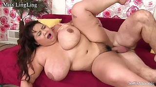 Asian BBWs stuffing their hungry mouths and fat pussies roughly white meat