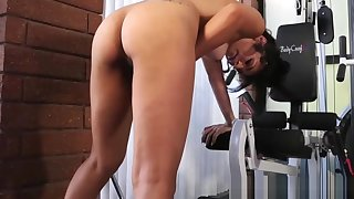 Gym tgirl tugging and toying her dick matchless
