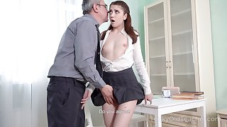 Meticulous sophomore student Alita Angel loses anal virginity with ancient teacher