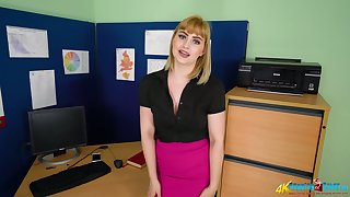 Vitiated office chick Elle gets naked and shows her ass and small tits