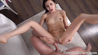 Skinny Russian darkhaired Polina Sweet gets her prankish gaping ass sex!