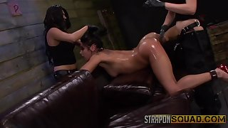 Amateur gets clamped with an increment of ass fucked by her three mistresses