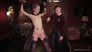 Skinny blonde plays submissive for her old master