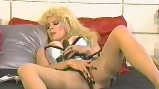Amateur blonde full-grown fucks herself with a toy