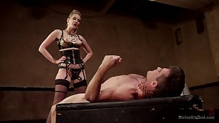 Mistress fucks her male slave in verge on activity
