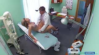 Samantha, a cute blonde, gets a almost imperceptibly a rather physical interrogation from her physician