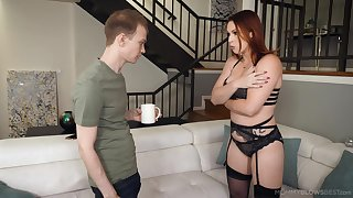 Tall redhead prevalent black underthings Edyn Blair is eager to suck delicious cock dry