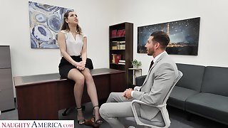 Slutty office chick Alina Lopez invites surrounding penetrate her pussy sitting on the table
