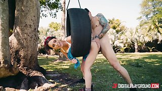 Outdoor fucking with downcast girlfriend Jade Nile beside her juicy pussy