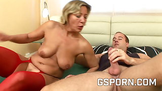 Hot mature with respect to red sexy lingerie fucked in the first place the bed