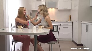 Fervent lesbian sex with blondes Elizabeth Evans and Suffocating Teen