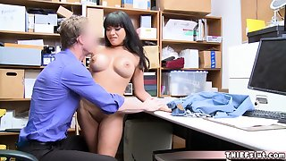 Hot brunette safe-cracker teen obstructed by a horny mall cop