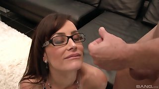 Pornstar Lisa Ann with glasses fucked by her younger sweetheart
