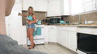 Thick cougar stepmom seduces her stepson and then she sucks his dick