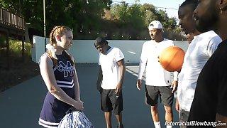 Nefarious basketball team is face fucking white cheerleader Arietta Adams