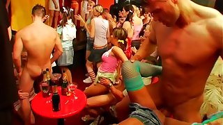 Massive fuck party between male strippers and clothed females