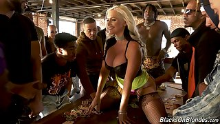 Brutal interracial gang bang suits well be expeditious for really ravening MILF Alena Croft