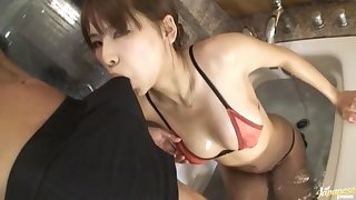 Passionate shacking up in the bathroom with a sexy Japanese wife