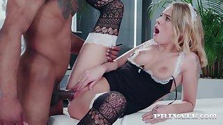 Hot maid Lya Missy serves black employer