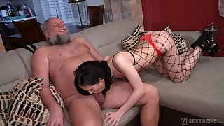 Strigous pervert is happy less lick pussy of gal in fishnet right arm for In men's drawers Nikki Fox