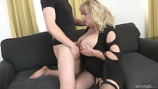 Mature slut plays close to will not hear of large tits with an increment of gets pain in the neck fucked good