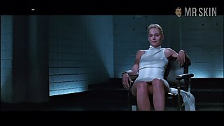 Basic instinct personage Sharon Stone flashes her pussy in a famous scene