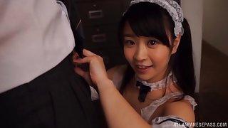 Lucky guy films Minano Ai measurement she gives him a scruffy blowjob